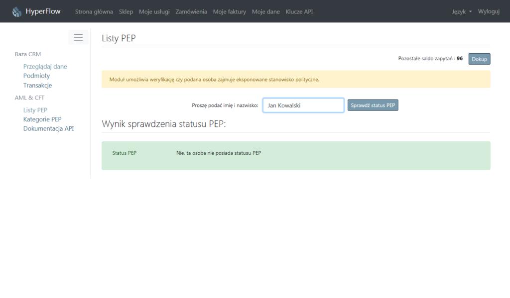 Narzędzie IT do weryfikacji PEP status - Lista PEP